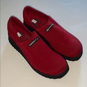 Tommy Hilfiger size 9 red slip on shoes